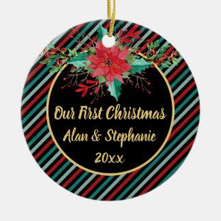 Unsere erste Weihnachtspoinsettia-Blumenstreifen Keramik Ornament