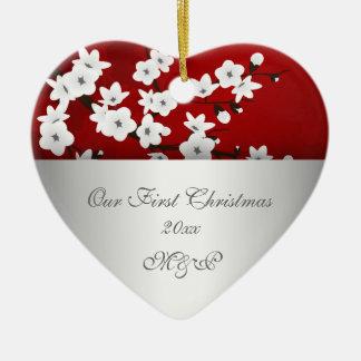 Unsere erste Weihnachtszusammen Kirschblüte Keramik Ornament
