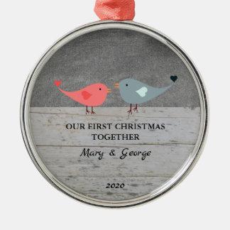 Unsere ersten Weihnachtszusammen Liebevögel Silbernes Ornament