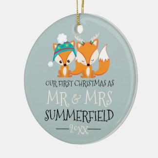Unsere erstes Weihnachtsniedlichen roten Füchse Keramik Ornament