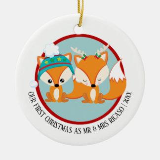 Unsere erstes Weihnachtsroten Füchse Rundes Keramik Ornament