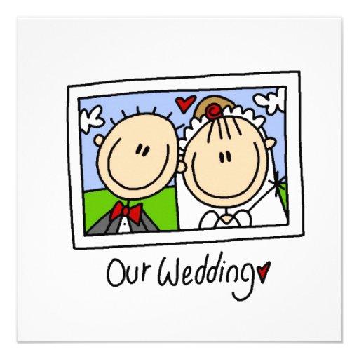 Unsere Hochzeits-Braut und Bräutigam-T-Shirts und Personalisierte Einladungskarten
