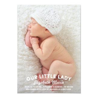 Unsere kleine Dame Birth Announcement 12,7 X 17,8 Cm Einladungskarte