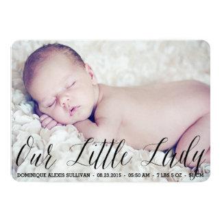 Unsere kleine Dame Script Foto Birth Announcement 12,7 X 17,8 Cm Einladungskarte
