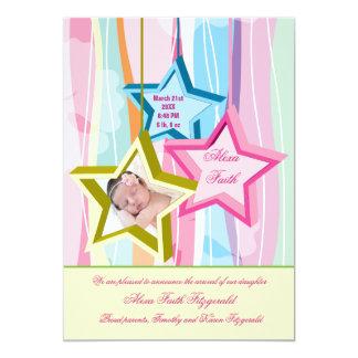 Unsere kleine Stern-Foto-Geburts-Mitteilung Karte