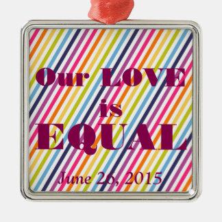 Unsere LIEBE ist GLEICHE Heirat-Gleichheit Silbernes Ornament