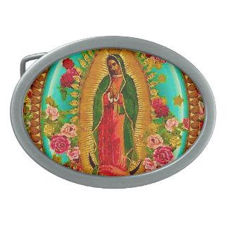 Unsere mexikanische Heilig-Jungfrau Mary Ovale Gürtelschnallen