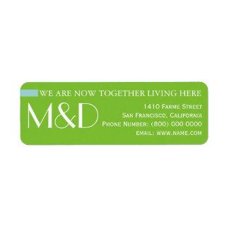 unsere neue Adresse, mit Monogramm Grün