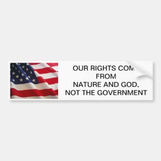 Unsere Rechte kommen vom Gott Autoaufkleber