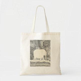 Unsichtbare Elefant-Gekritzel-Taschen-Tasche Tragetasche