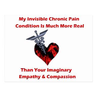Unsichtbares chronisches Schmerz-Rot-Herz Postkarte