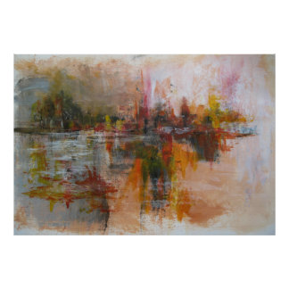 Unten durch den Fluss- abstrakter Cityscape Poster