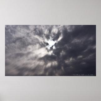 Unter dem Sturm-Wolken-Regenschirm des Poster