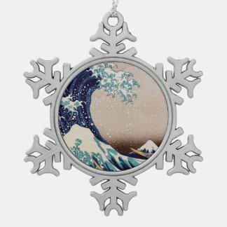 Unter der großen Welle weg von Kanagawa Schneeflocken Zinn-Ornament
