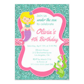 Unter der Seemeerjungfrau-Geburtstags-Party 12,7 X 17,8 Cm Einladungskarte