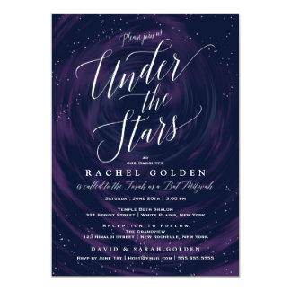 Unter der Stern-eleganten Schläger Mitzvah Feier 12,7 X 17,8 Cm Einladungskarte