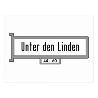 Unter Höhle Linden, Berlin-Straßenschild Postkarte