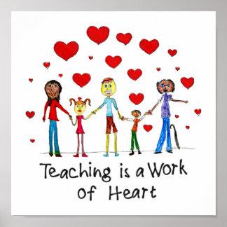 Unterricht ist eine Arbeit des Herz-Quadrat-Plakat Poster