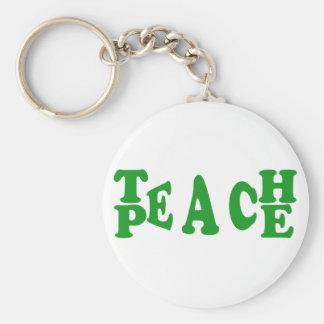 Unterrichten Sie Frieden im dunkelgrünen Schlüsselanhänger