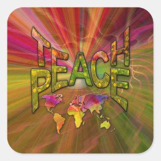 Unterrichten Sie Frieden Quadratischer Aufkleber