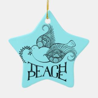 Unterrichten Sie Friedensweihnachten oder Keramik Stern-Ornament
