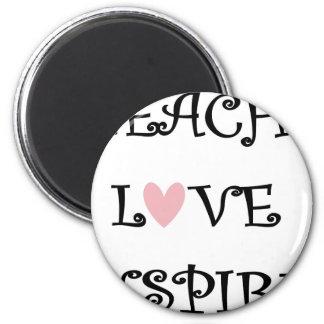 unterrichten Sie Liebe inspirieren Runder Magnet 5,1 Cm