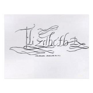 Unterschrift der Königin Elizabeth I Postkarte