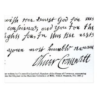 Unterschrift Oliver Cromwell, von Postkarte