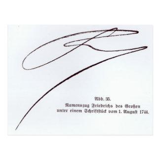 Unterschrift von Frederick das große Postkarte