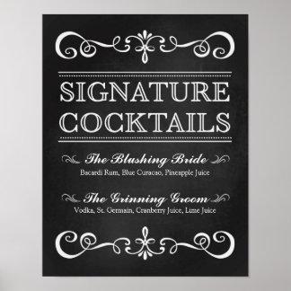 Unterschriften-Cocktail-Tafel-Hochzeits-Zeichen Poster