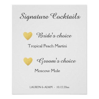 Unterschriften-Cocktails, die Zeichen, Poster