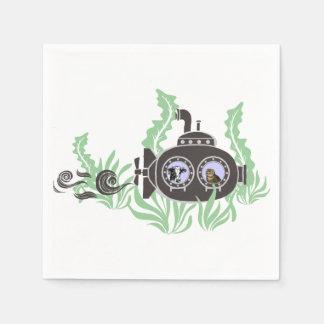 Unterseeboot mit Kuh und Eule nach innen Serviette
