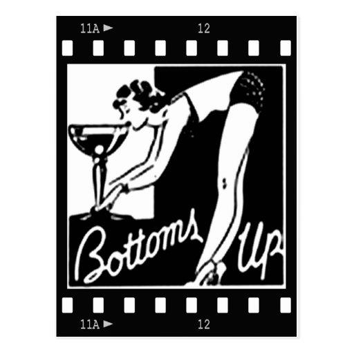 Unterseiten Up Retro Dame Drinking Huge Martini Postkarte