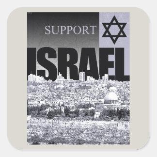 Unterstützung Israel Quadrat-Aufkleber