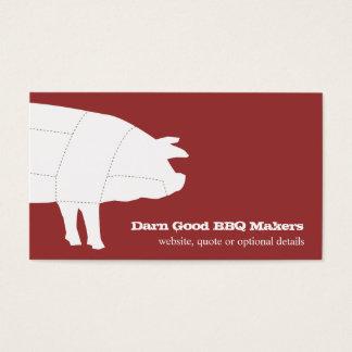 Unterteilte GRILLEN Schwein-rote Geschäfts-Karte Visitenkarte