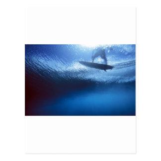 Unterwasseransicht der blauen Welle des Surfers
