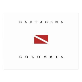 Unterwasseratemgerät-Tauchen-Flagge Cartagenas Postkarte