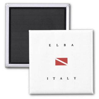 Unterwasseratemgerät-Tauchen-Flagge Elbas Italien Quadratischer Magnet