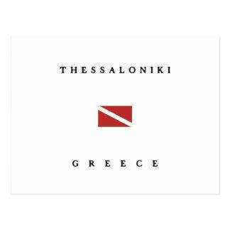 Unterwasseratemgerät-Tauchen-Flagge Saloniki Postkarte