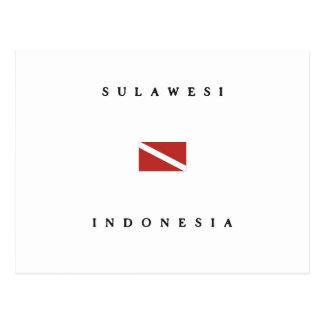 Unterwasseratemgerät-Tauchen-Flagge Sulawesis Postkarte
