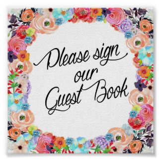 Unterzeichnen Sie bitte unser Gast-Buch Poster