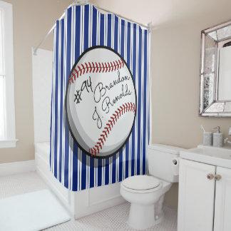Unterzeichneter Baseball kundengebundener Name Duschvorhang