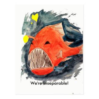 Untrennbare Angler-Fisch-Postkarte Postkarte