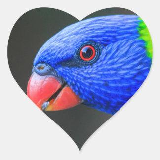 Unverschämt-Regenbogen-Lorikeet-silkenphotography Herz-Aufkleber
