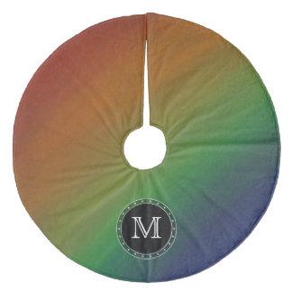 Unverschämte Monogramm-Regenbogen-Flagge des Fleece Weihnachtsbaumdecke