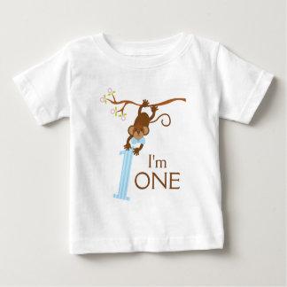Unverschämter Affe-blaue Streifen-1. Geburtstag Baby T-shirt
