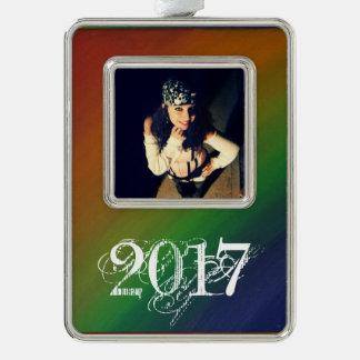 Unverschämter Jahr-Foto-Regenbogen Ombre des Rahmen-Ornament Silber