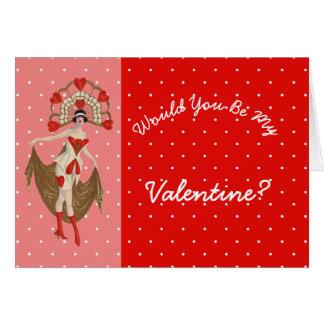 Unverschämtes Vintages Valentine-Mädchen Karte