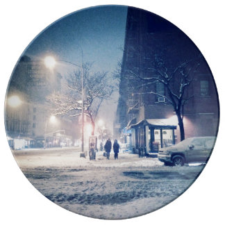 Upper West Side-Winter-Nacht Porzellanteller