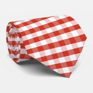 Üppige Dahlie rot u. weißer Gingham-Karo kariert Krawatte